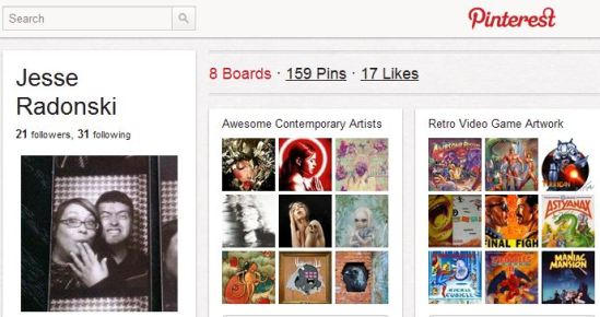 Pinterest page for Jesse Radonski