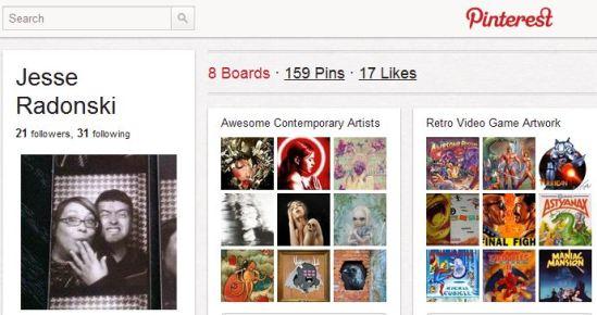 Pinterest page for Jesse Radonski