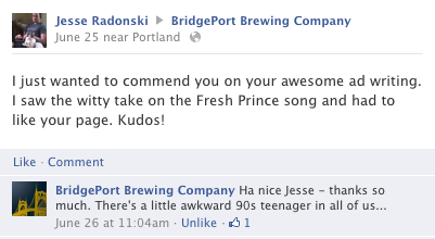 Facebook Comment from Bridgeport Brewing