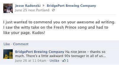 Facebook Comment from Bridgeport Brewing